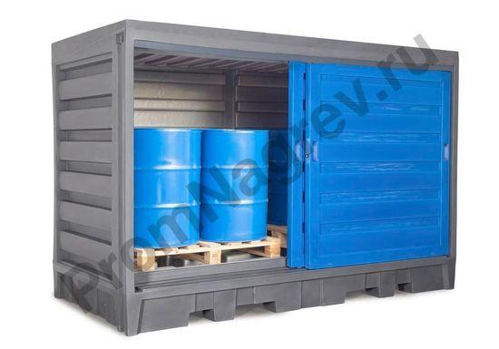 Склад для хранения масел, кислот и щелочей для 8 бочек по 200 литров