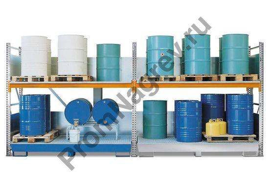 Комбинированный стеллаж на шестнадцать бочек по 200 литров каждая, оцинкованный поддон, базовый модуль.