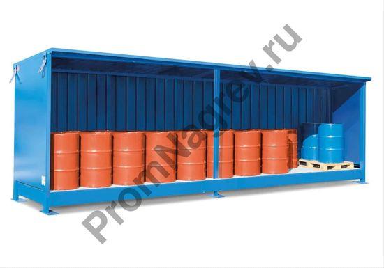 Контейнер вместимостью до 16 бочек (по 200 л), подходящий для паллетов.