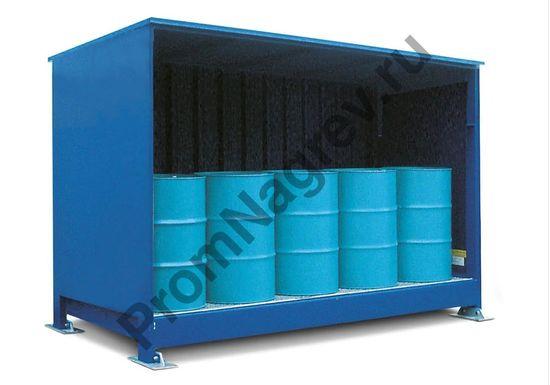 Контейнер-склад для хранения бочек на паллетах.