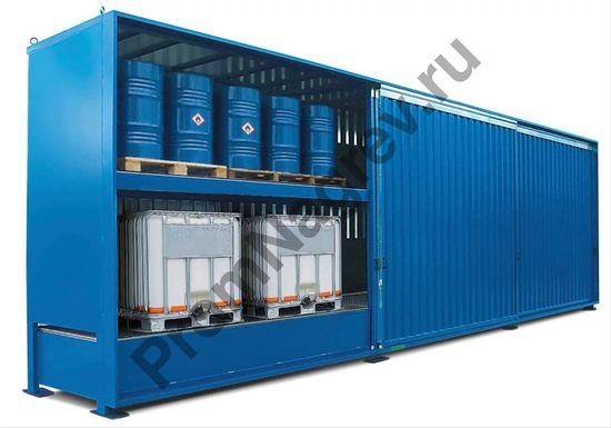 Контейнер смешанного хранения, вмещающий до 72 бочек (по 200 л) или 18 еврокубов (IBC).