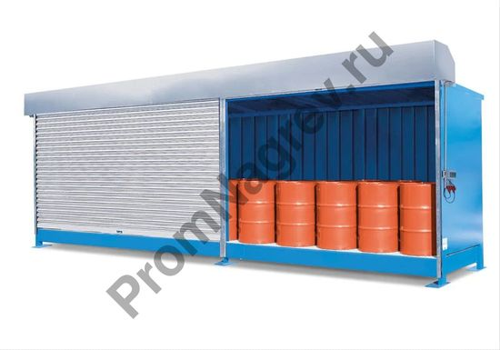 Контейнер вместимостью до 16 бочек (по 200 л), подходящий для паллетов,  с роликовыми запирающимися воротами.