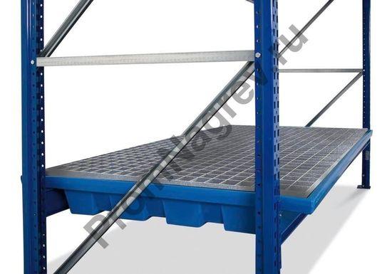 Полиэтиленовый поддон с оцинкованной решеткой, для стеллажа с шириной полок 2700 мм.