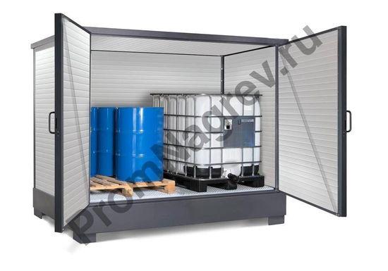 Изолированный обогреваемый контейнер для хранения опасных веществ, для 2 еврокубов по 1000 литров или 8 бочек по 200 литров
