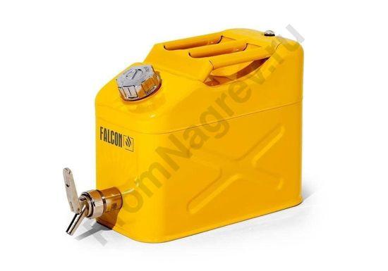Канистра для безопасного хранения ЛВЖ и агрессивных веществ, из окрашенной стали, с краном для точной дозировки, 10 литров