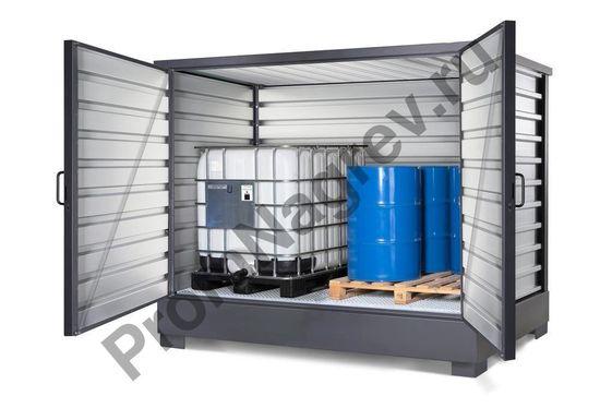 Контейнер для хранения ЛВЖ и водоопасных веществ, оцинкованный, для 8 бочек по 200 литров или 2 IBC по 1000 литров
