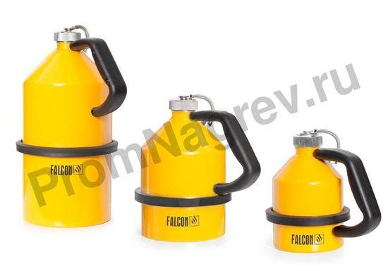 Стальные ёмкости для огнеопасных жидкостей с завинчивающейся крышкой, оцинкованная, окрашенная в жёлтый цвет, объём 5, 2 и 1 литр