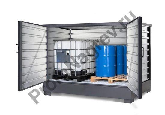 Супер компактный складской контейнер для хранения опасных веществ, для 2 контейнеров IBC по 1000 литров или 8 бочек по 200 литров, 2900 x 1570 x 2060 мм