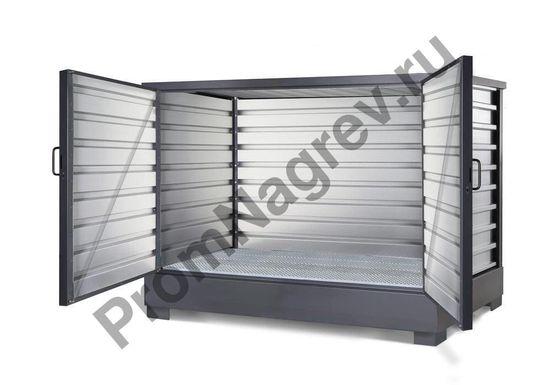Супер компактный складской контейнер для хранения опасных веществ, для 2 контейнеров IBC по 1000 литров или 8 бочек по 200 литров