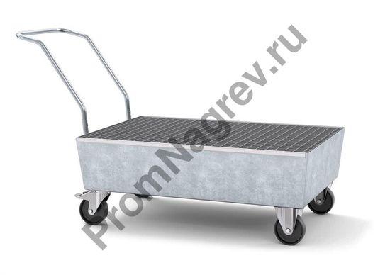 Передвижной оцинкованный поддон под две бочки, пластиковые электропроводные колёсики, решётка, профессиональная серия.