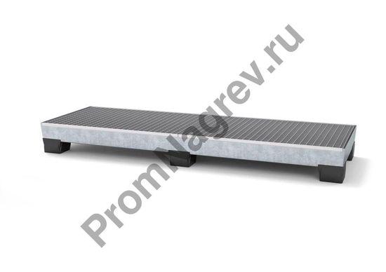 Поддон из линии pro c с цинковым покрытием на 4 бочки в ряд, штабелируемый, с пластиковыми ножками.