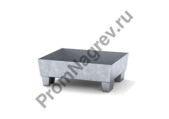 Лоток, на ножках, оцинкованная сталь, решётки нет, вместимость -одна бочка на шестьдесят литров.