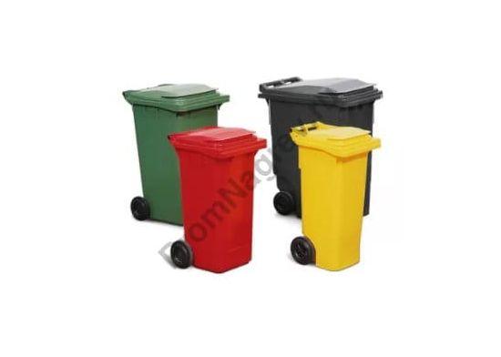 Большой мусорный бак на колесиках, объем 240 л, красный