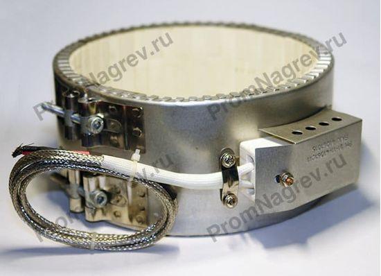 Керамический хомутовый нагреватель, посадочный диаметр 170 мм, ширина 85 мм, электроподключение - высокотемпературный провод