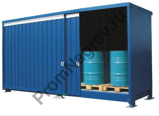 Объемный двухкамерный контейнер под 48 бочек.