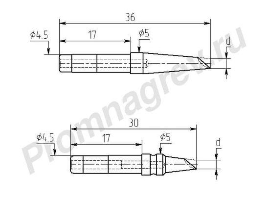 Износостойкие паяльные насадки M20И-DC, миниволна, для индукционной станции Магистр Ц20-И
