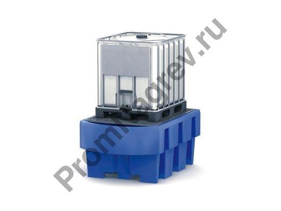 Поддон пластиковый под еврокуб (IBC) с оцинкованной решёткой и зоной розлива.