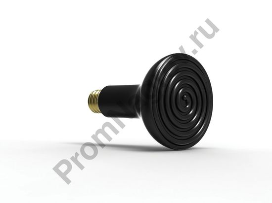 Лампа для террариума е27, 150 Вт, диаметр 95 мм, длина 140 мм, черная эмаль