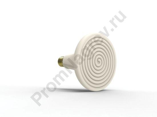 Лампа обогрева для террариума, 300 Вт, диаметр 147 мм, длина 137 мм, белая эмаль