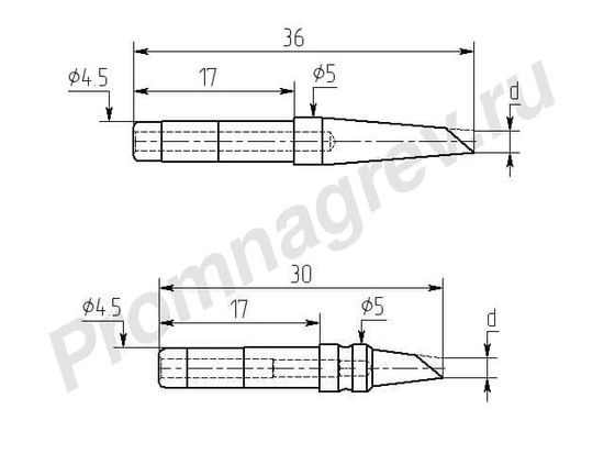 Износостойкие паяльные насадки М20И-DB для индукционной станции Ц20-И с односторонним срезом