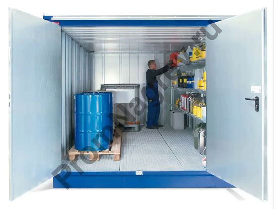 Вместительный контейнер-склад под опасные вещества со входом, MCV, площадь складского помещения 12 м2.