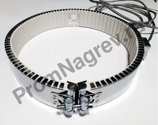 Керамический хомутовый нагреватель посадочный диаметр 245 мм, ширина 50 мм,  высокотемпературный провод 1500 мм