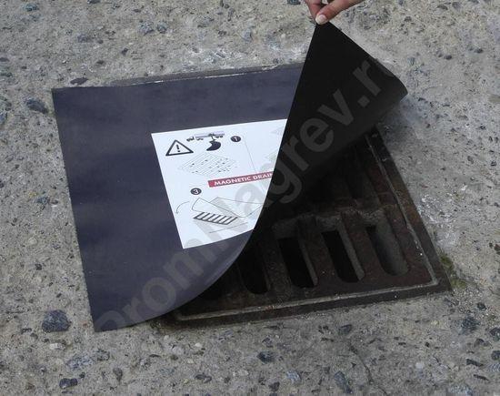 Магнитный изолирующий мат для люка канализации, квадратный, 1000 x 1000 мм