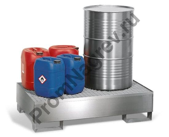 Поддон, на котором можно разместить до двух 200 литровых бочек на оцинкованной решётке-настиле.