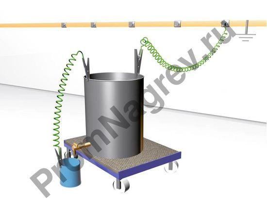 Принцип подключения заземляющего кабеля спирального с 1 клеммой заземления из нержавеющей стали Heavy Duty 235 мм и 1 кольцевой клеммой, ATEX