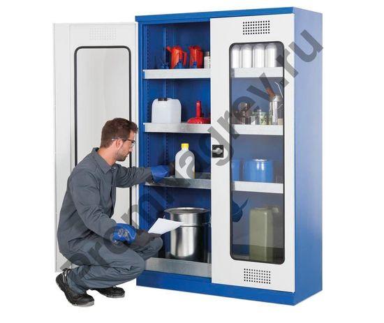 Шкаф для химикатов, двустворчатые двери с акриловыми окнами, с поддонами на полу и полках, тип CS 104.