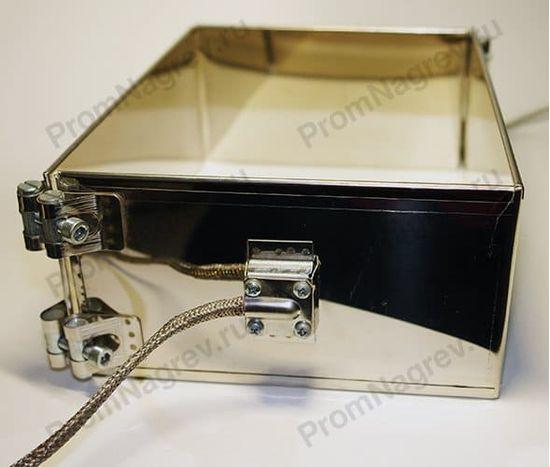 Миканитовый рамочный нагреватель из 2-х нагревательных элементов, тип подключения термостойкий провод в металлической оплётке
