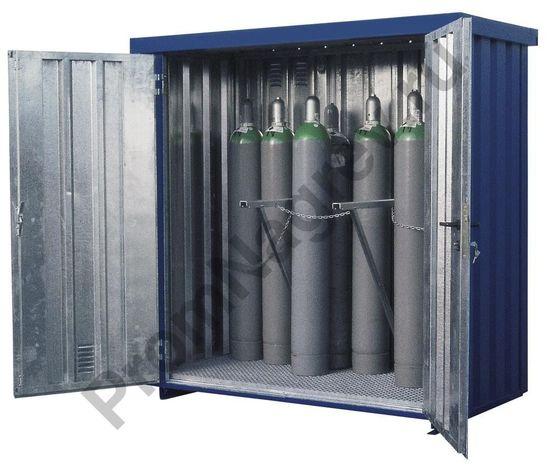 Контейнер для газовых баллонов MDC 210, вместимостью 21 баллон, оцинкован и окрашен