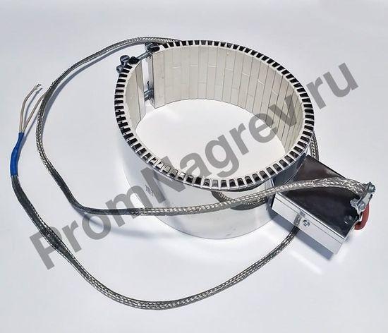 Керамический хомутовый ТЭН посадочный диаметр 180 мм, ширина 90 мм, высокотемпературный провод 1500 мм