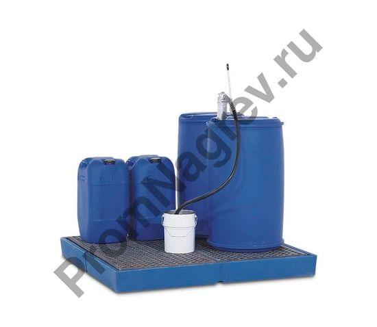 Защитная напольная платформа-поддон, корпус и решетка из полиэтилена, колесная нагрузка до 150 кг, 1500x1500x150 мм.