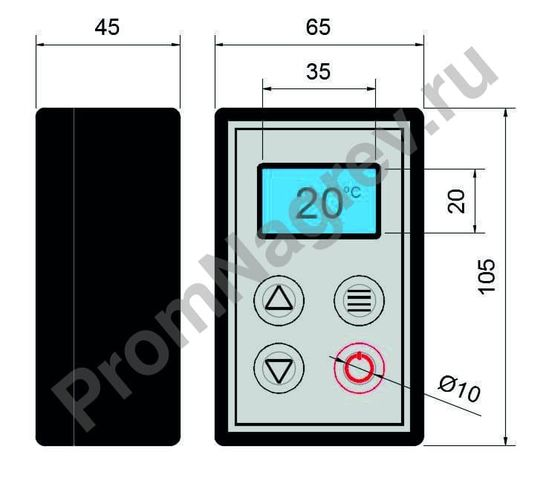 Цифровой термостат для нагревателей емкостей и силиконовых нагревательных элементов, габаритные  размеры