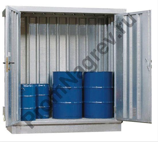 Маленький оцинкованный контейнер для опасных веществ, со входом