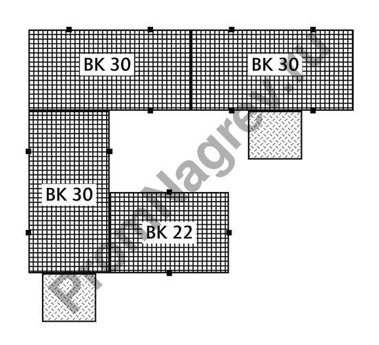 Защитная напольная квадратная полиэтиленовая платформа, стальная оцинкованная решётка, колесная нагрузка до 150 кг, 1500x1500x150 мм.