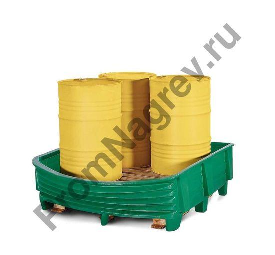 Защитный поддон из полиэтилена с гибкой передней стенкой на 4 бочки (по 200 л).