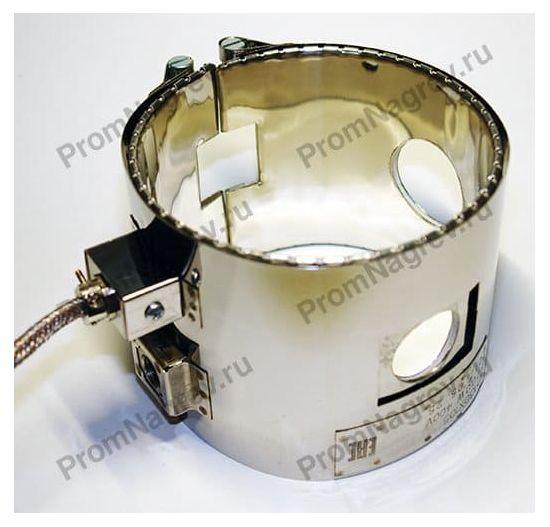 Хомутовый миканитовый нагреватель с технологическими отверстиями и вырезом под термопару, посадочный диаметр 130 мм, ширина 105 мм