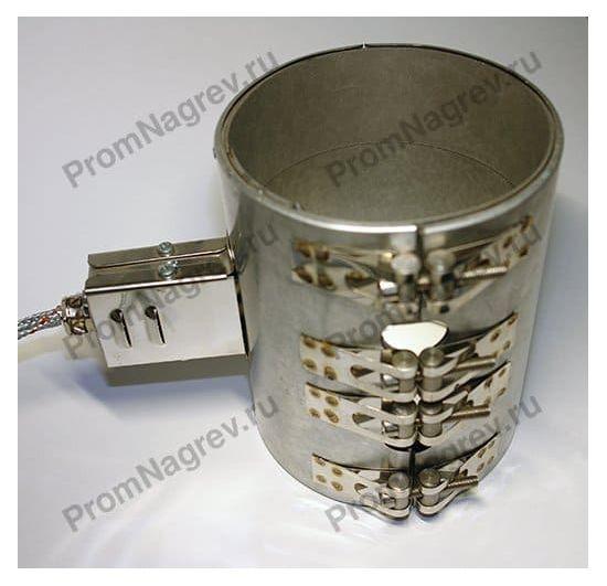 Герметичный хомутовый миканитовый нагреватель посадочный диаметр 130 мм, ширина 170 мм, отверстие под термопару