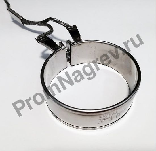 Кольцевой нагреватель 80 x 30 мм, 350 Вт/ 220 В, термостойкий провод в метоплетке 1000 мм