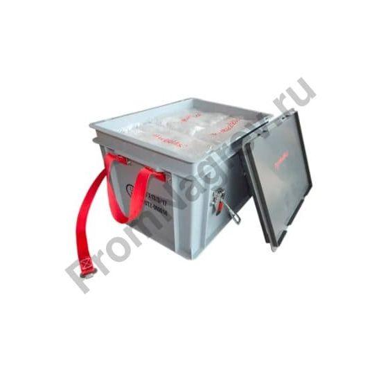 Коробка для транспортировки литий-ионных аккумуляторов PP, 18 литров, XS-Box 1 Basic, наполненная противопожарными стеклогранулятами Pyrobubbles®