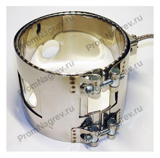 Хомутовый миканитовый нагреватель с технологическими отверстиями и вырезом под термопару, крепление на болтах