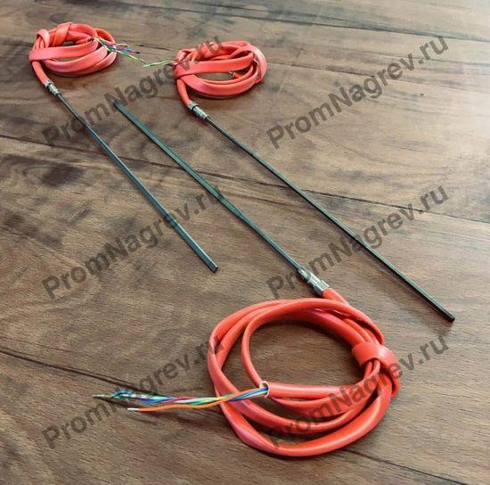 Спиральный нагреватель прямой, 620Вт/ 230В, сечение 2.2х4.2 мм со встроенной термопарой