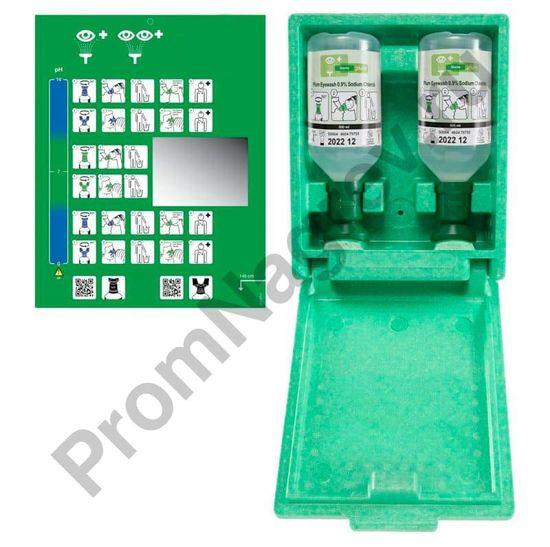 Набор для промывки глаз из 2 флаконов по 500 мл (9% физраствор) в коробке из жёсткого пенопласта, для настенного монтажа