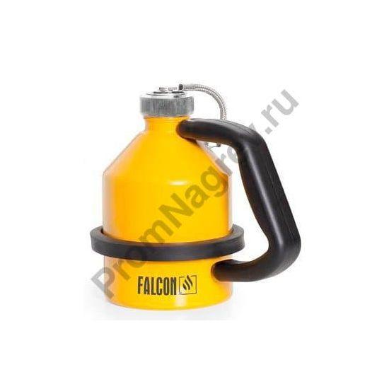 Стальная ёмкость для огнеопасных жидкостей с завинчивающейся крышкой, оцинкованная, окрашенная в жёлтый цвет, 1 литр