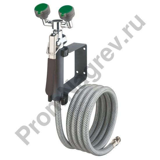 Аварийный душ для промывания глаз, для крепления на стене, с 2 распылительными головками, длина шланга 2,5 м