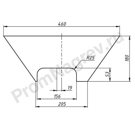 Чертеж плоского силиконового нагревателя в форме трапеции с основаниями 460x205 мм, высота 180 мм, 200 Вт/220 В, провод 1000 мм вырез со смещением влево