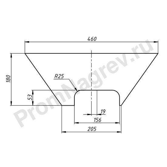 Чертеж плоского силиконового нагревателя в форме трапеции с основаниями 460x205 мм, высота 180 мм, 200 Вт/220 В, провод 1000 мм вырез со смещением вправо