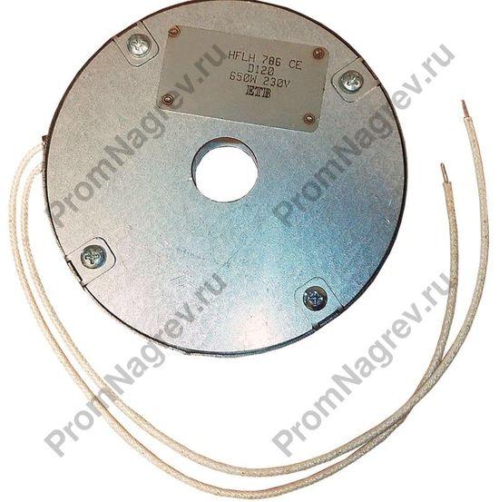 Круглый плоский керамический тэн в корпусе из нержавеющей стали, с отверстием под термопару